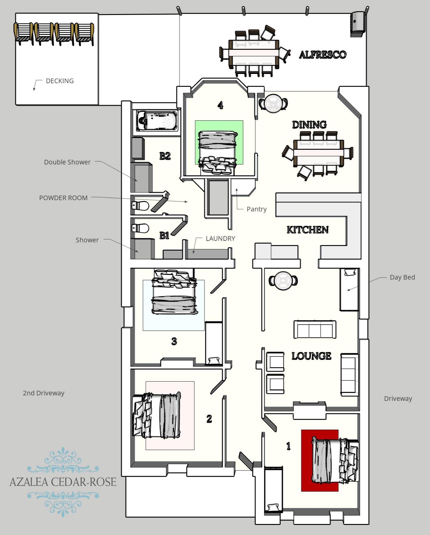 3D Azalea Cedar-Rose Villa Floorplan